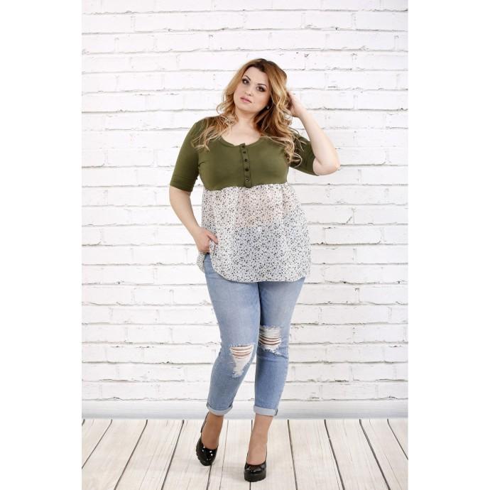 Блузка цвета хаки ККК1665-0690-2