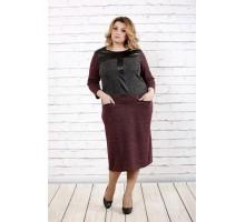 Комбинированное платье ниже колена ККК1642-0717-1