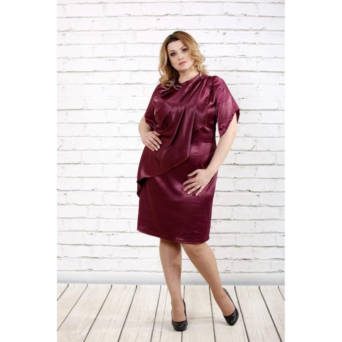 Бордовое атласное платье ККК1617-0728-2