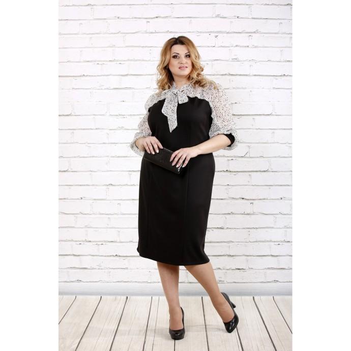 Черно-белое платье с шифоном ККК1645-0716-1