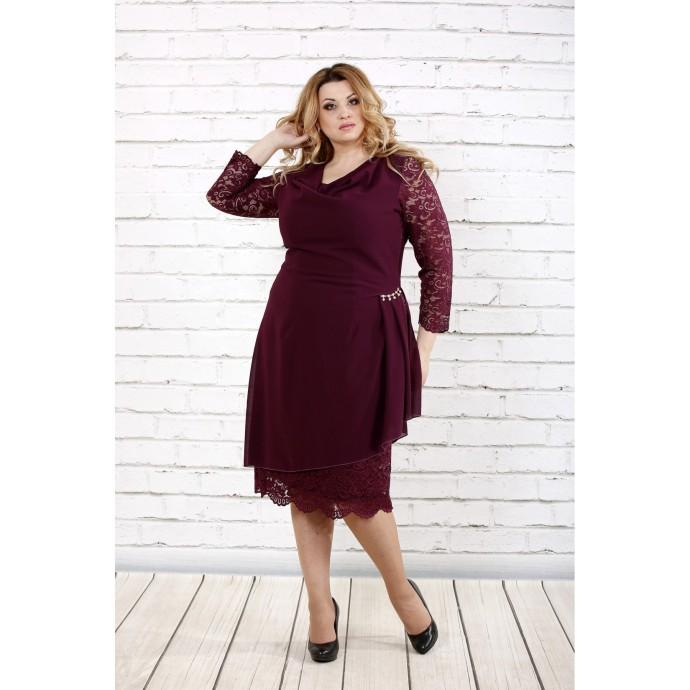 Элегантное бордовое платье ККК1647-0715-2
