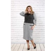 Серое платье с карманами ККК1641-0717-2