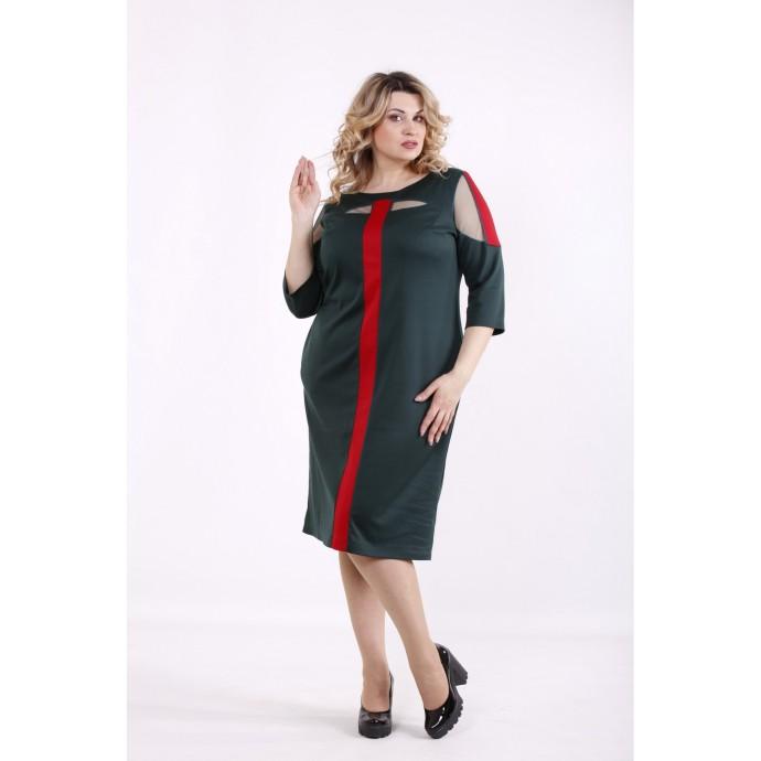 Зеленое с красным платье ККК99928-01418-3