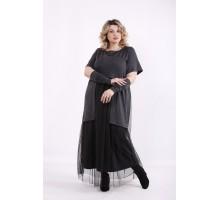 Темно-серое платье в пол ККК9994-01426-3
