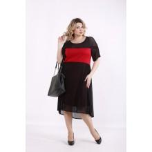 Алое платье с сеткой ККК99937-01415-3