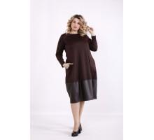 Шоколадное платье с эко-кожей ККК99940-01414-3