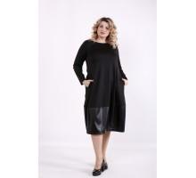 Черное платье с эко-кожей ККК99941-01414-2