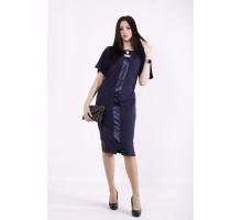 Синее платье со вставками из атласа ККК99951-01411-1