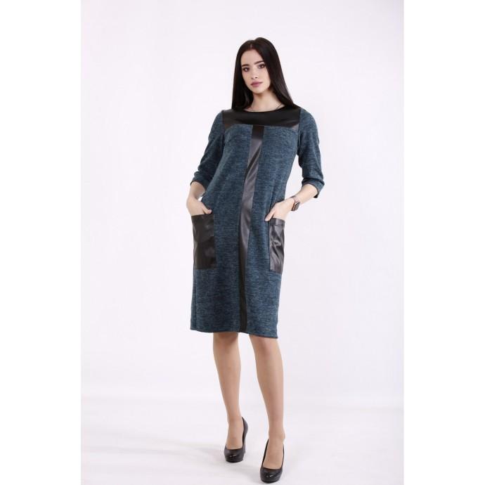 Зеленое платье с эко-кожей ККК99954-01410-1