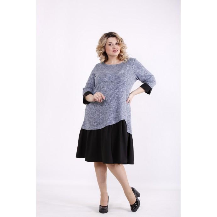 Голубое с черным платье ККК9998-01425-2
