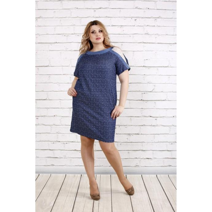 Синее платье с принтом ККК1913-0770-1
