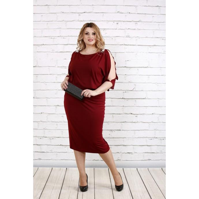 Бордовое красивое платье ККК1914-0769-3