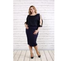 Темно-синее платье с шифоном ККК1915-0769-2