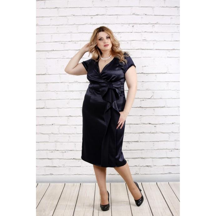 Тенмо-синее платье ниже колена ККК1918-0768-2