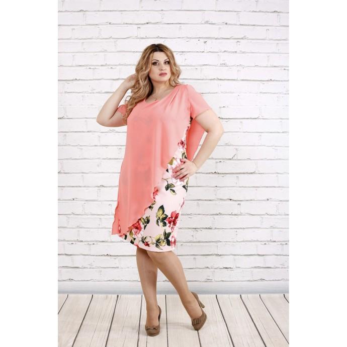 Розовое платье с нежными цветами ККК195-0772-3
