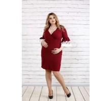 Нарядное бордовое платье с декольте ККК1936-0761-2