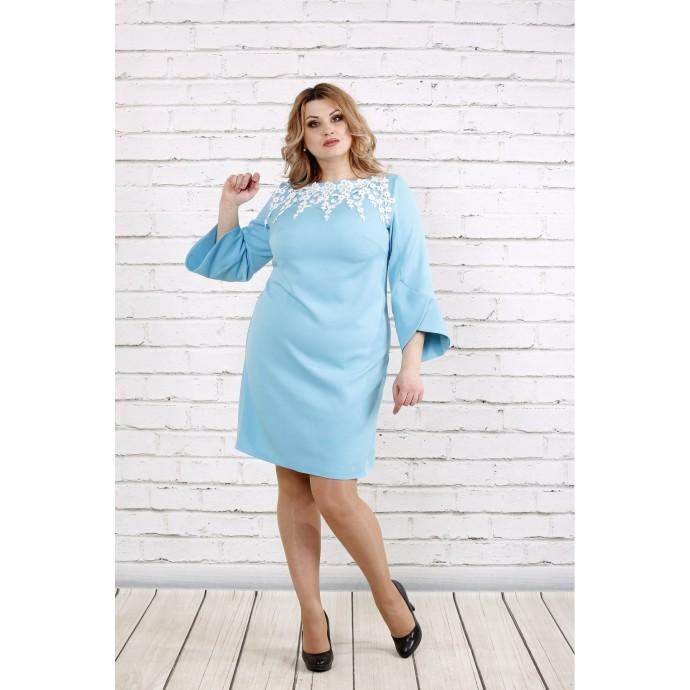 Платье с прошвой нежного голубого цвета ККК1939-0760-2