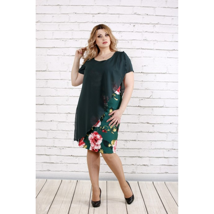 Зеленое асимметричное платье с цветами ККК196-0772-2
