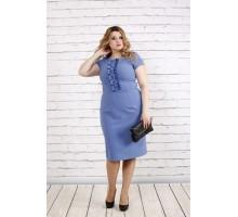 Платье цвета джинс с коротким рукавом ККК1910-0771-1