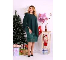 Модное зеленое платье с гипюром ККК1147-0651-3