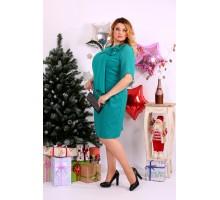 Платье до колена бирюзовое ККК1146-0652-1