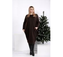 Шоколадное свободное платье ККК202-0971-2