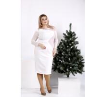 Красивое светлое платье до колена ККК2011-0968-2