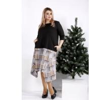 Просторное платье с коричневой клеткой ККК2013-0967-3