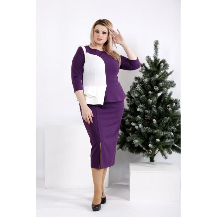 Фиолетовое платье с белой вставкой ККК2025-0963-3
