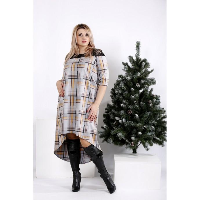 Свободное платье в коричневую клетку ККК2028-0962-3