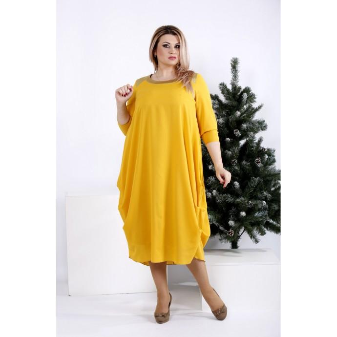 Горчичное стройнящее платье ККК2034-0960-3