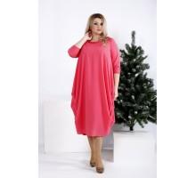 Свободное стройнящее коралловое платье ККК2036-0960-1