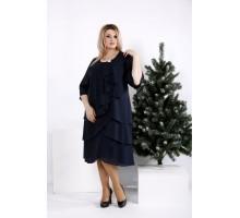 Темно-синее свободное платье ККК2039-0959-1