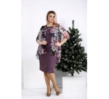 Бисквитное платье с цветным шифоном ККК2041-0958-2