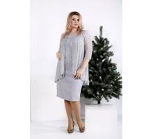 Серое платье до колена ККК2042-0958-1
