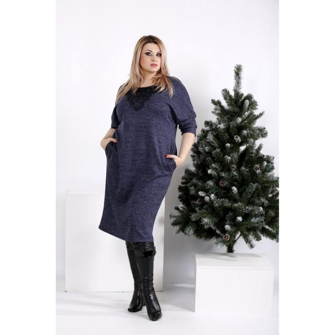 Свободное удобное синее платье ККК206-0970-1