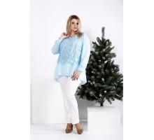 Небесно-голубая блузка с гипюром на сетке ККК2056-0952-3