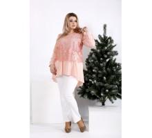 Персиковая блузка ниже пояса ККК2057-0952-2