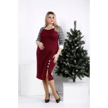 Бордовое платье с серыми рукавами ККК207-0969-3