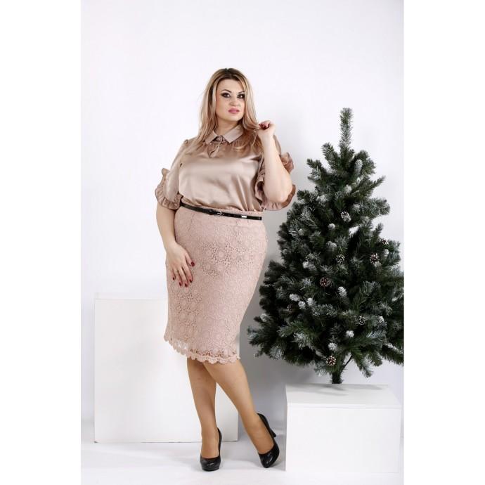 Шелковая кофейная блузка ККК2064-0949-1