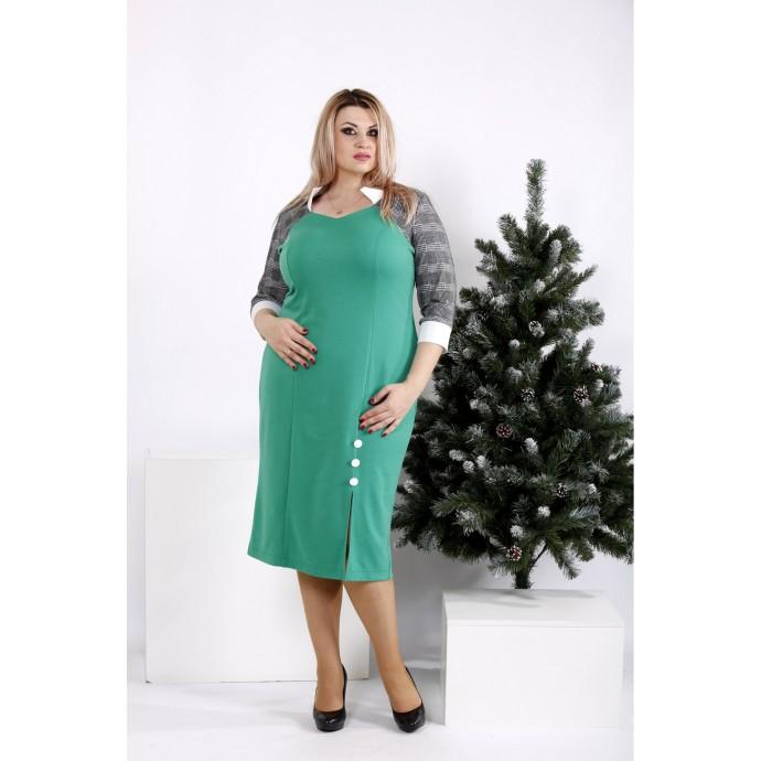 Зеленое платье до колена ККК208-0969-2