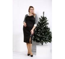 Черное трикотажное полуприталенное платье ККК209-0969-1