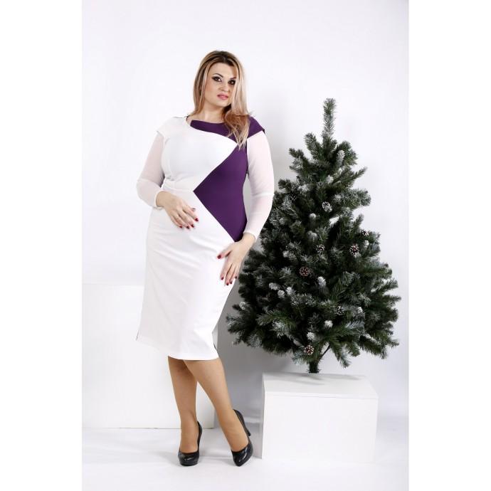 Платье светлое с баклажановым ККК2010-0968-3