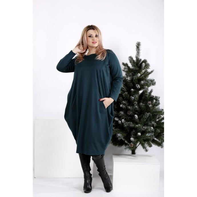 Зеленое скрывающее практичное платье ККК201-0971-3