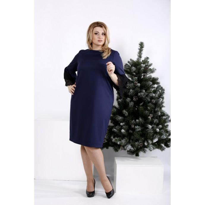 Синее простое и элегантное платье ККК20016-0991-2