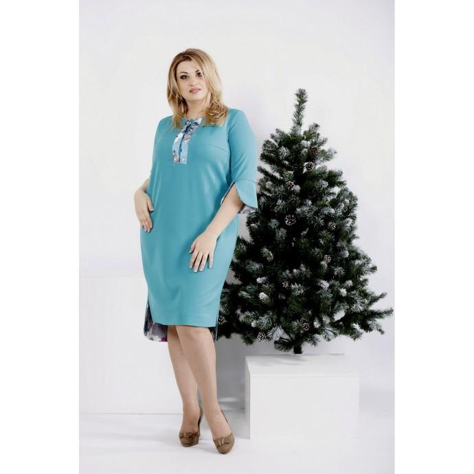 Бирюзовое платье из костюмки ККК20012-0992-3