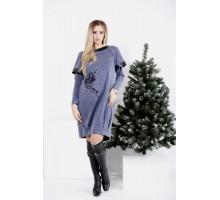 Платье цвета джинс до колена ККК2002-0996-2