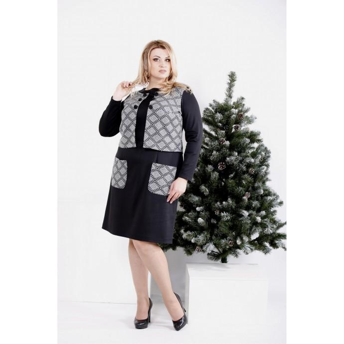 Черное платье с узором ККК2005-0994-3
