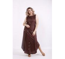 Длинное шоколадное платье КККV011-01521-2