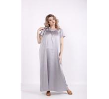 Однотонное длинное платье сталь КККV014-01522-2